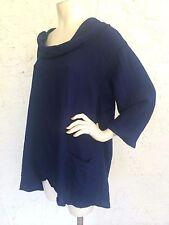 CMC Click Color Me Cotton Navy Blue Cowl Neck Rayon Tunic Top Art to Wear Sz XXL