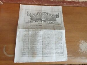 Old THE DIME Newspaper 1856 VOLUME 1 NO 1 NEW YORK LITTLE DORRIT CHARLES DICKENS