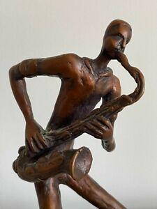 Bronze Jazz Saxophone Figurine Sculpture VGC