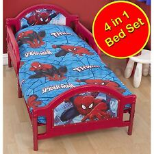 Disney Spiderman Ultimate City 4 in 1 Junior Toddler Duvet Cover Bedding Bundle