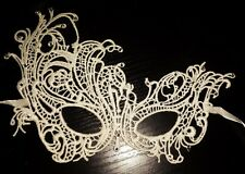 Venetian ivory Lace Filigree Masquerade Ball Mask Gothic Party with Diamantes