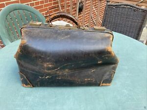 Antique Leather Hide Doctor's Medical Bag Vintage