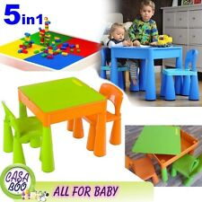 5in1 Multi Use Table &2 Chairs Set for Children Kids Activity ,Lego Green&Orange