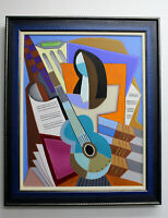 "Original Oil Painting ""ABSTRACT GUITAR #8"" on Canvas 34"" x 28"" FRAMED Art/Music"