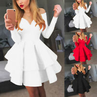 Women Fashion Deep V-Neck Ruffles Party Gowns Long Sleeve Evening Dress Solid BS