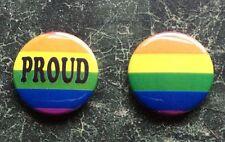 RAINBOW BUTTON BADGES X2 GAY PRIDE PROUD LESBIAN LGBT LOVE