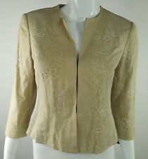 Axcess Liz Claiborne Womens Sz 4 Brown White Floral Embroidered Linen Blazer NWT