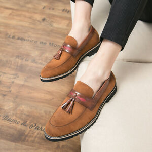 Mens Casual Party Oxfords Fashion Shoes Pointed Toe Tassel Suede Slip On Loafers