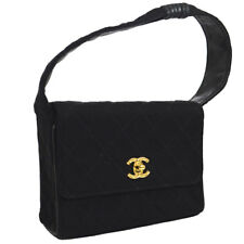 CHANEL Quilted CC Logos Hand Bag Black Cotton Leather Vintage Authentic AK36802f