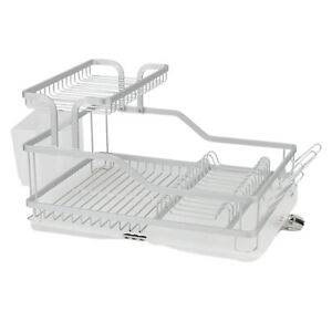 Aluminum Dish Drying Rack Kitchen Counter Top Tier Utensil Holder Organizer