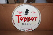 Vintage Topper Beer Bar Tavern Metal Serving Tray Gas Oil Sign