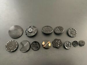 Lot of (13) Antique Vintage Black Glass Fancy Buttons - BUTTON AUCTION #14