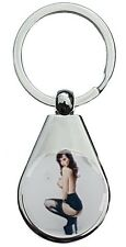 SEXY RETRO PIN UP GIRL IN SUSPENDERS CHROME POLISHED KEYRING PEAR STYLE SHAPE