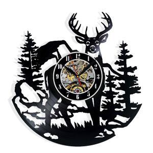 Birch Tree Forest Deer Decor Modern Wall Clock Jack Skellington Vinyl Clock