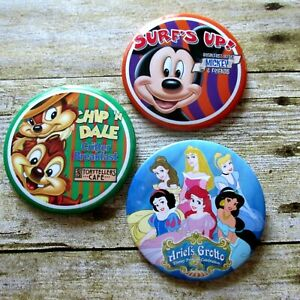 Lot 3 Disney Dining Pinback Button Badges Ariels Grotto Storytellers Surfs Up
