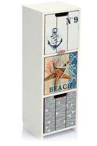 Mini-Kommode mit 3 Schubladen - Holz-Schränkchen mit maritimem Design