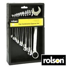 Rolson 12 Piece Spanner Set Chrome Vanadium Steel Size 7-22mm With Case