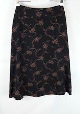 liz Claiborne women's size 10 black gold floral silk mid-calf a-line skirt