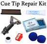 Snooker / Pool Cue Tip Repair Kit RUBBER Tip Clamp - Blue Diamond Tips 9 10 11mm