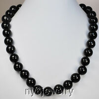 """Gorgeous! 14mm Round Onyx Beads Hand-knotted necklace w/Silver Tone Clasp 21"""""""