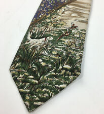 VTG 90s POLO RALPH LAUREN Silk Neck Tie Hunting Dog Pheasant 57/3.5 USA Made