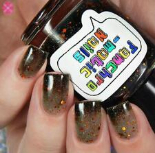 The Maze Nail Polish - color-changing black-to-clear with copper holo glitter
