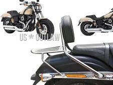 sissy bar chrome avec coussin et porte bagage pour Harley Fat Bob de 2014 - 2017