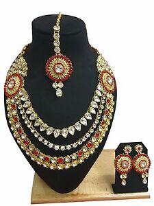 Indian Ethnic Bollywood Style Gold Plated Wedding Fashion Jewelry Necklace Set
