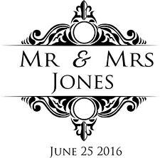 70 MR AND MRS ROUND Personalised Wedding Crest Monogram Stickers Label Seals