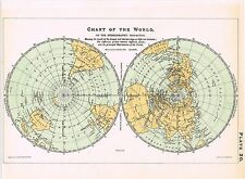 ANTIQUE PRINT VINTAGE 1800S ASTRONOMY SCIENCE STAR CHART MAP OF THE WORLD RARE
