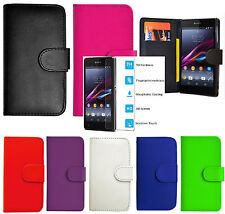 New Wallet Pouch card slot Case Cover For Sony Mobile /Tempered Glass UK SELLER