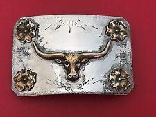 Ricardo Bull Head Nickel Silver Bronze Trim Belt Buckle  #11