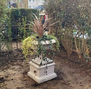 garden urn cast-stone pot  , large solid heavy planter with square plinth