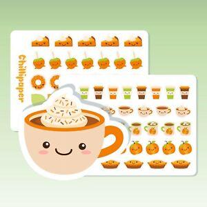 Kawaii pumpkin spice, Cute Autumn kawaii planner stickers, Fall planner stickers