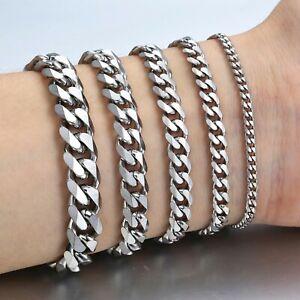 Edelstahl Armband Panzerarmband Herren Damen Silber Armkette Panzerkette Cubic