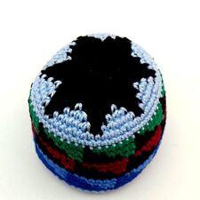 Hacky Sack Boota Bag Crochet Footbag Guatemalan New Blue Multi Color Black Star