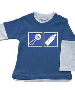 Babybugz Skate Layered Top Shirt Baumwolle Pullover NEU blau Rassel 3-6/12-18 Mo
