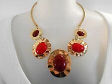 MOTHERS DAY SALE Red and Gold Statement Necklace was $14 NOW $10
