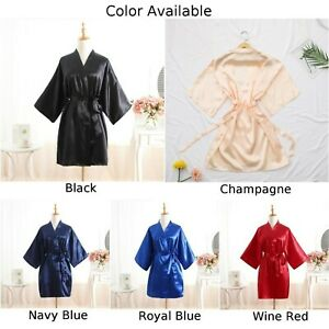 Mens Satin Silk Pajamas Kimono Bathrobe Robe Dressing Gown Sleepwear Loungewear.