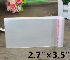 100P 2.7×3.5 Small Clear Self Adhesive Resealable Cello Cellophane Poly OPP Bags