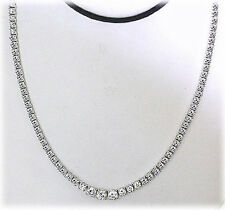 6.85 carat Total Round Diamond Graduated Tennis Necklace, 14k White Gold 4 prong