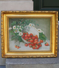 A Basket of Strawberries. Outstanding antique salon oil!  1890. Signed.