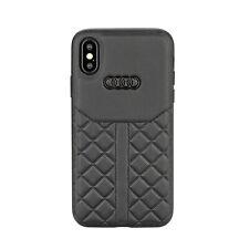 AUDI Q8 Serie Lederhülle iPhone XS Max Back Case Cover Genuine Leather Schwarz