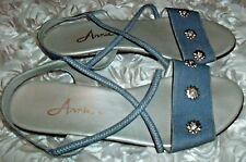 Vintage Size 6.5 Embellished X Band Elastic Shoe Flat Heel Open Flip Flop Sandal
