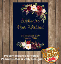 Personalised Navy Floral Hens Wine Bottle Sticker (LABELS ONLY) 8 Per Page