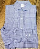 Brooks Brothers Makers Blue Shirt Made In USA Size L 100% Cotton