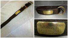 *ANTIQUE LEATHER DOG COLLAR W/ BRASS NAMEPLATE & FITTINGS- W.LOWERTON ESQ LONDON