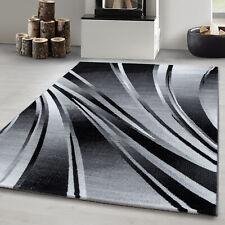 Tapis de salon moderne design abstrait vagues modèle noir gris Oeko Tex