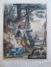 Eau forte couleur début XIX,  Deux enfants