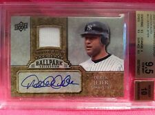 2009 SP UPPER DECK DEREK JETER BALLPARK COLLECTION  SWATCH-AUTO BGS 9.5 10